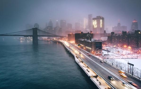 Photo wallpaper USA, New York, night, the evening, lights, the city, fog, bridge