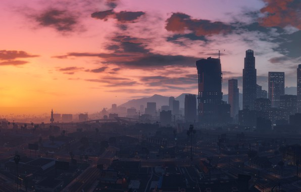 Download Wallpapers Gta5 Night Grand Theft Auto V 4k: Wallpaper City, Game, Sky, Cloud, Grand Theft Auto V, GTA