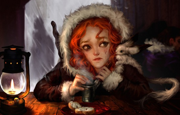 Picture girl, mood, fantasy, art, tears, lunch, the pub, Winter Tale, Ilse Harting