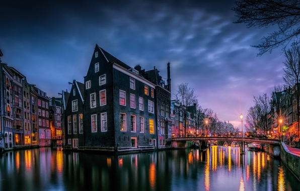 Picture light, bridge, the city, lights, paint, home, the evening, morning, Amsterdam, Netherlands
