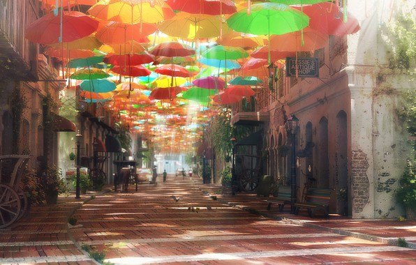Picture the city, street, umbrellas, Street of Dreams