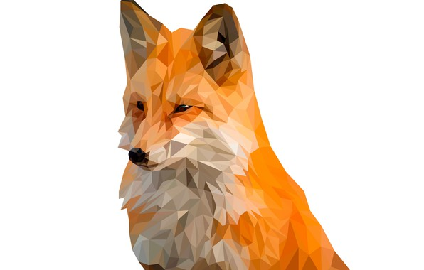 Picture background, animal, triangles, Fox
