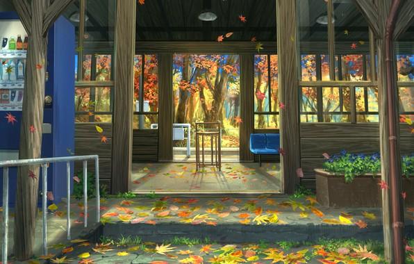 Photo wallpaper nature, autumn, porch, leaves