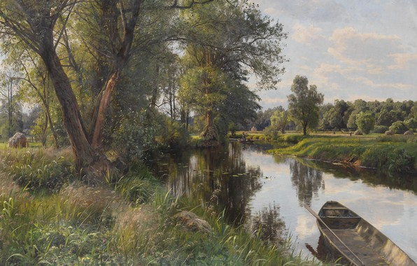 Picture nature, river, boat, picture, Peter Merk Of Menstad, Peder Mørk Mønsted, Summer Landscape
