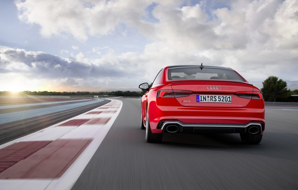 Picture Audi, German, Red, Race, Speed, RS5, 2018, Track, Drive, RS, A5