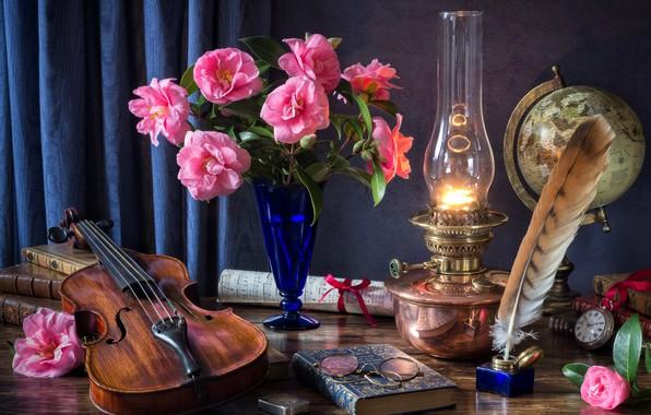 Picture flowers, notes, pen, violin, watch, books, lamp, bouquet, glasses, globe, Camellia, still
