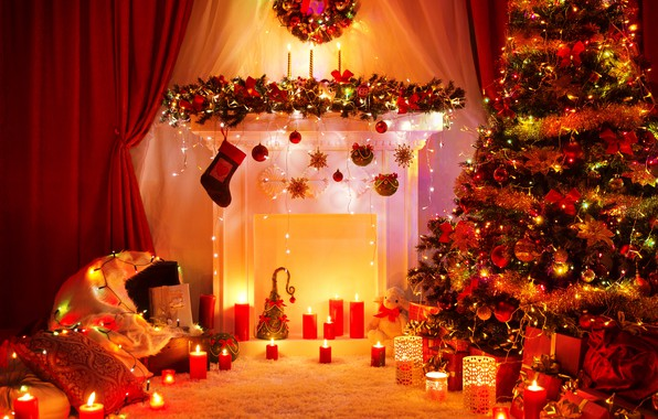 Wallpaper Decoration Toys Tree Candles New Year Christmas Gifts Fireplace Christmas