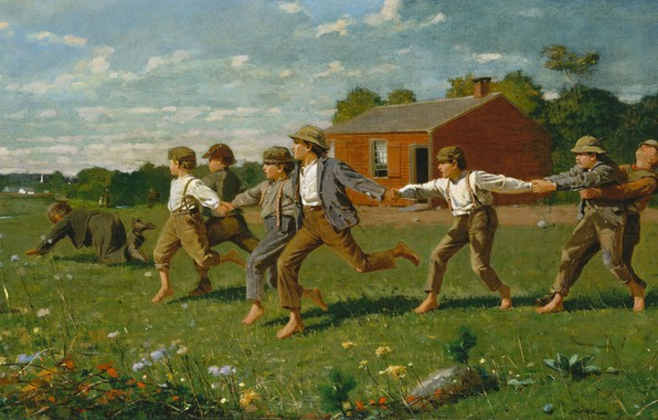Picture children, the game, picture, Winslow Homer, Winslow Homer, Tie A Whip
