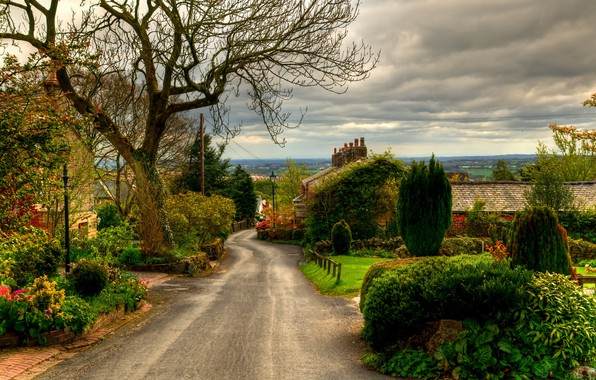 Picture Nature, Clouds, Sky, Landscapes, England, Road, Trees, Town, Horwich, Houses
