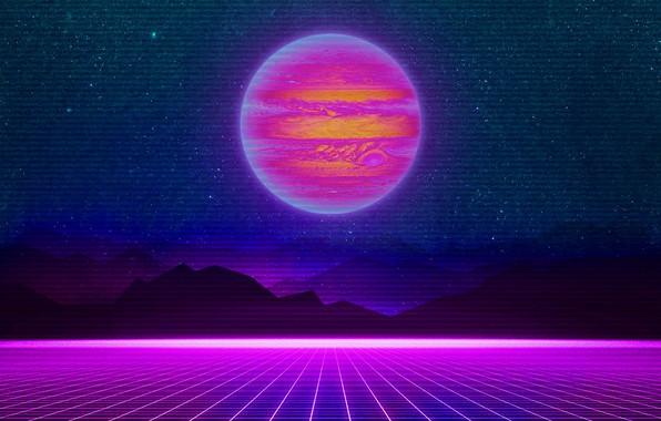 Retro Iphone 6 Wallpaper Hd: Wallpaper Mountains, Music, Stars, Neon, Planet, Space