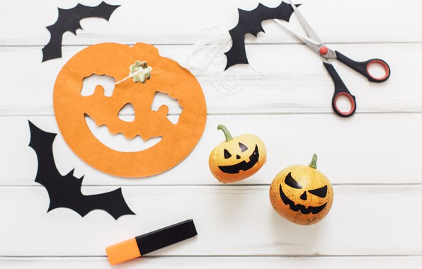 Picture holiday, mouse, pumpkin, Halloween, scissors
