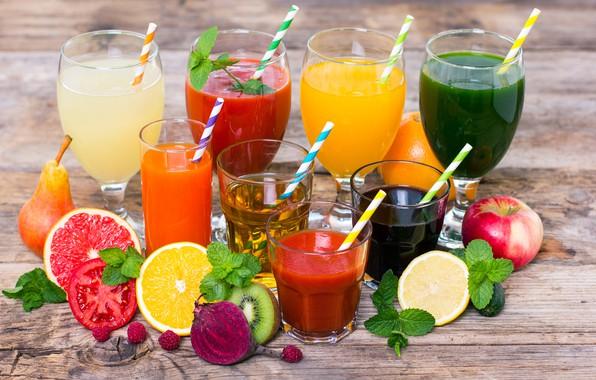 Picture leaves, berries, raspberry, lemon, Apple, orange, kiwi, glasses, pear, glasses, fruit, drinks, vegetables, tomato, tube, …