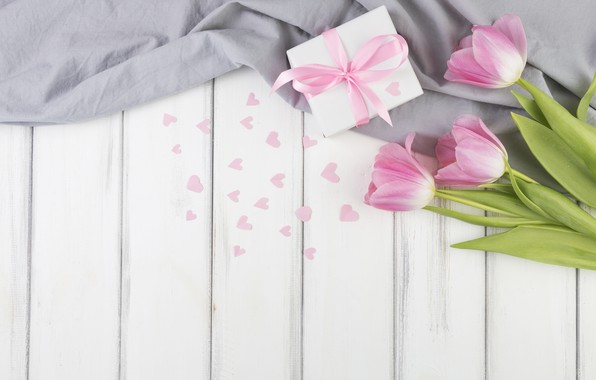 Picture flowers, bouquet, hearts, tulips, pink, wood, flowers, present, decor