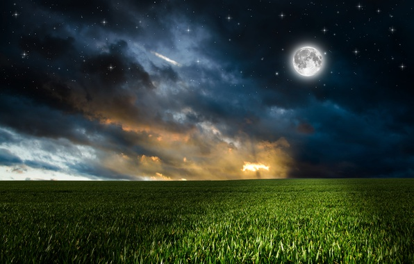 Picture greens, field, the sky, grass, clouds, night, the moon, photoshop, stars