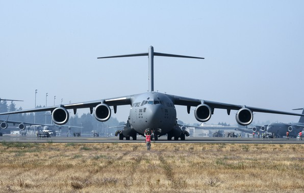 Picture aircraft, military, air force, Boeing C-17 Globemaster III, 001, cargo and transport aircraft