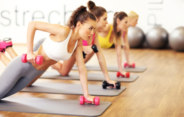 Picture floor, gym, Fitness, class, dumbbells