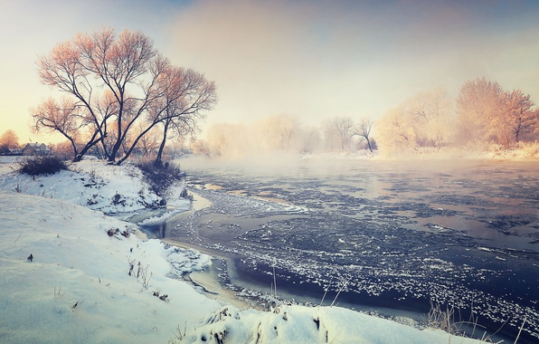 Picture winter, fog, river, morning