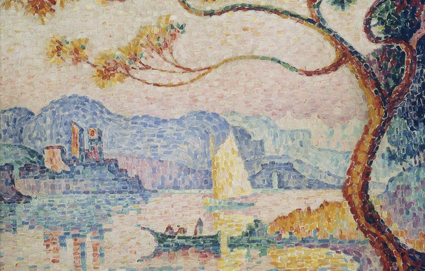 Picture landscape, tower, picture, Antibes, Paul Signac, pointillism, Antibes. the Small Port of Bacon