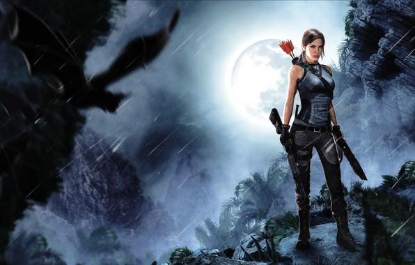 Picture girl, rendering, skull, bat, arrows, lara croft, tomb raider, shotgun, Shadow of the Tomb Raider