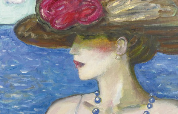 Picture sea, 2006, hat, beads, Pamela, Modern French painting, Jean-Pierre Cassigneul
