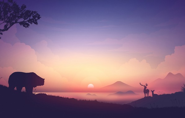 Picture animals, the sky, the sun, clouds, mountains, fog, sunrise, vector, bear, deer, silhouettes, Sunrise