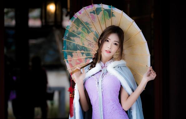 Picture girl, umbrella, Asian, Cape