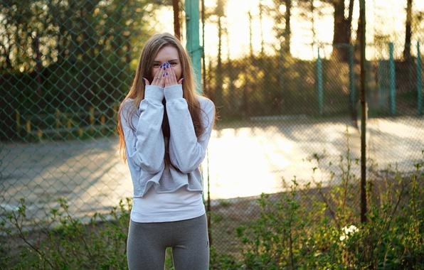 Photo wallpaper summer, look, girl, mesh, hair, the fence, hands, figure, cutie, Natalia