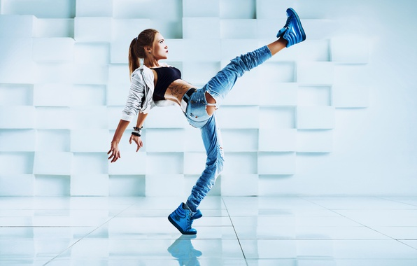 Picture girl, pose, dance, jeans, tattoo, jacket, hairstyle, brown hair, t-shirt, sneakers, torn