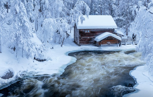 Picture winter, forest, trees, landscape, nature, house, Park, river, ice, ate, Finland, Jari Ehrström