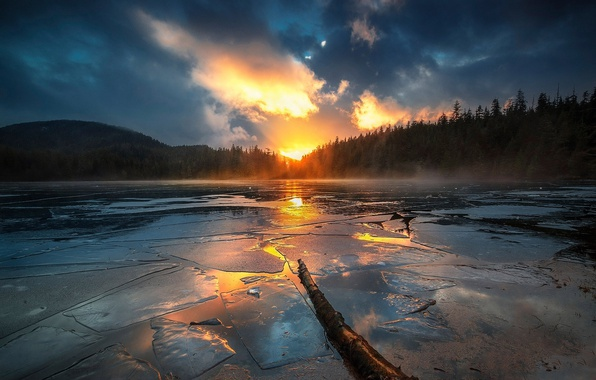 Picture forest, the sky, clouds, lake, river, ice, the sun
