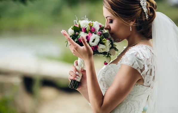 Picture girl, bouquet, the bride, white dress, veil, wedding