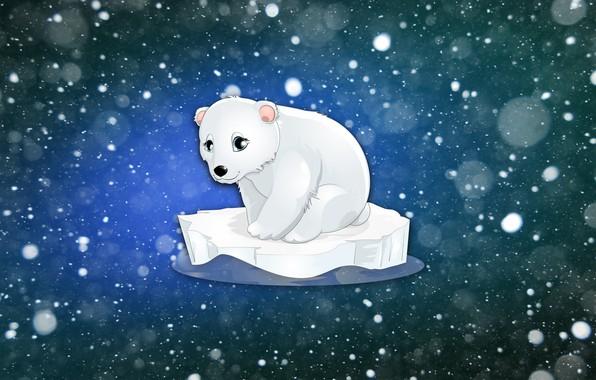 Picture Winter, Minimalism, Figure, Snow, Bear, Bear, Background, Polar bear, Floe