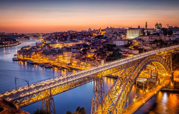 Picture bridge, lights, river, home, panorama, Portugal, Porto