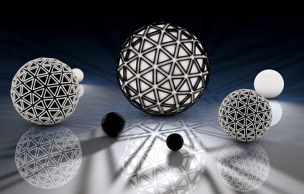 Picture reflection, background, balls