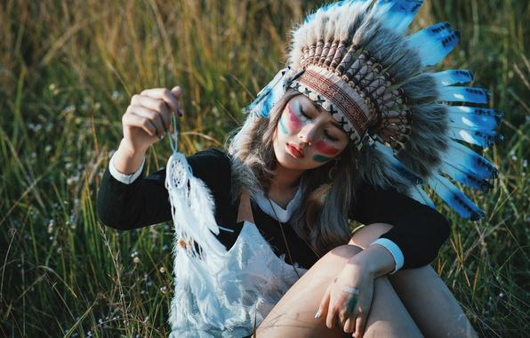 Picture summer, girl, nature, face, style, feathers, talisman, coloring, headdress, Dreamcatcher, Dreamcatcher