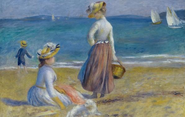 Picture sea, girls, boat, picture, sail, Pierre Auguste Renoir, Pierre Auguste Renoir, Figures on the Beach