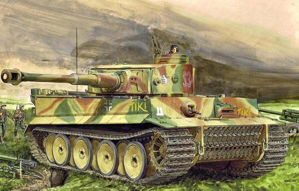 Picture Germany, art, tank, Heavy, The second World war, Machine gun, Tiger I, Ausf.E, Pz.Kpfw.VI, Sd.Car.181