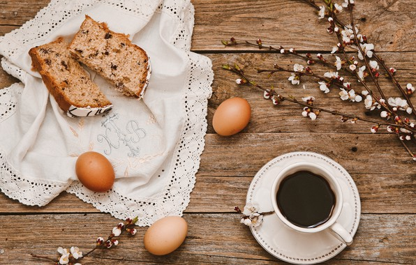 Picture flowers, branches, coffee, eggs, Easter, Cup, cake, wood, flowers, spring, Easter, eggs, decoration, Happy