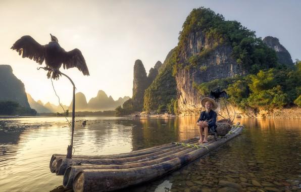 Picture mountains, lake, bird, boat, fisherman, China, Guangxi