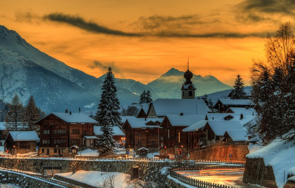 Picture winter, the sky, snow, trees, sunset, mountains, lights, home, the evening, Switzerland, Goms, Blitzingen