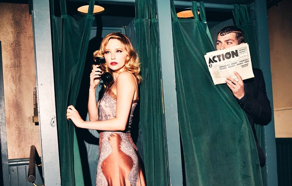 Picture makeup, dress, hairstyle, newspaper, phone, male, disguise, brown hair, beauty, booths, spying, following, Ellen von …