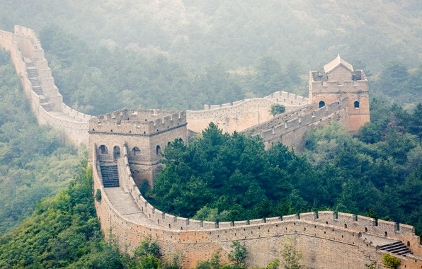 Picture forest, trees, fog, China, The great wall of China, Great Wall of China