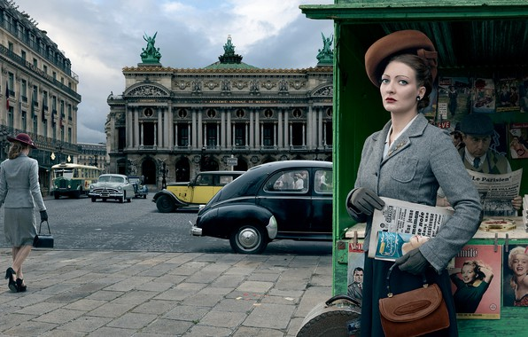 Picture auto, girl, the city, retro, Paris, 1954, Stories, kiosk