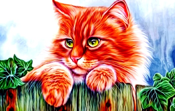 Picture cat, look, rendering, figure, fluffy, red, green eyes