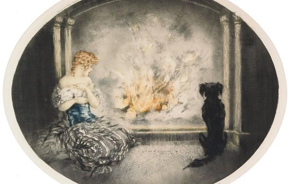 Picture cat, dog, Cinderella, 1927, campfire, Louis Icart, art Deco