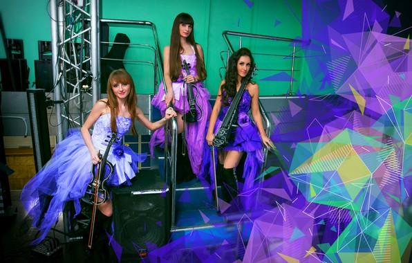 Picture girls, violin, group, green, trio, purple, lilac, musicians, violin group dolls, electric violin, violinist, elektroskripke