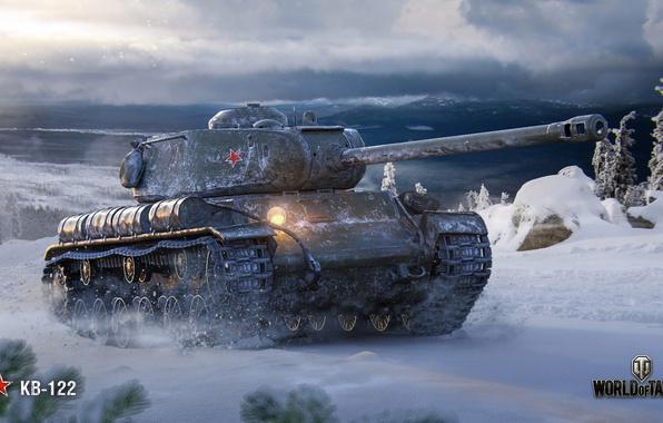 Picture winter, WoT, World of Tanks, Soviet tank, KV-122, Wargaming