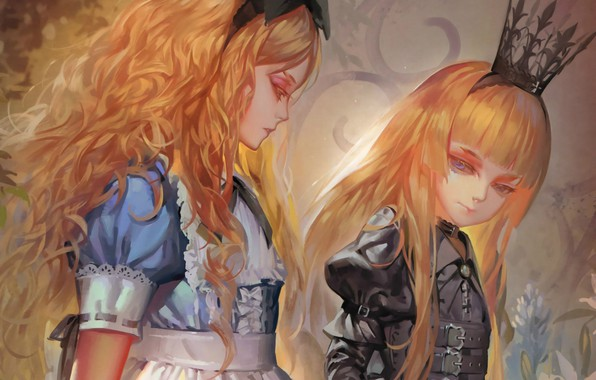 Picture girls, crown, blue eyes, black dress, Alice in Wonderland, Queen, art, alice, wavy hair, Alphonse