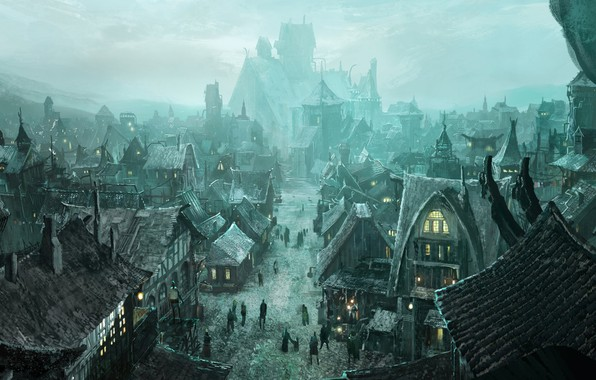 Picture the city, buildings, residents, Concept Art for Phantasia-Land