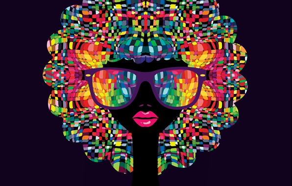 Picture girl, mosaic, glasses, lips, colorfull